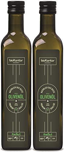 BIO Olivenöl 2x500ml / 1000ml aus Italien   kaltgepresst - nativ - extra vergine - fruchtig - wenig Säure   biokontor Gourmet