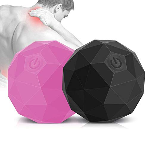 Vibrating Massage Ball, 2-Speed Fitness Yoga Pilates Physical Therapy Massage Roller to Fight Sore Muscles,Washable Negative Ion Vibration Massages balls for Muscle Recovery,Myofascial Release(2 Pack)