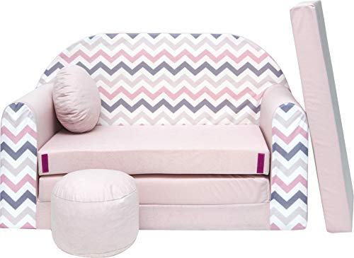 Welox Kindersofa Spielsofa Minicouch aus Schaum Kindersessel Kissen Matratze Farbwahl (HJ1)