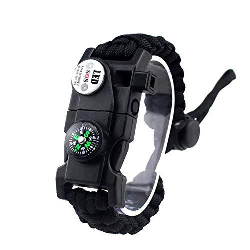 LIUDOU Survival Armband, Mit Wasserdichtem SOS-Licht, Feuerstarter, Kompass, Pfeife, Einstellbar, Outdoor Ultimative Taktische Überlebensgeräte-Set, Geschenk Für Kinder, Männer