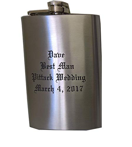 Laser Engraved 8oz Hip Flask, You Design and Personalize