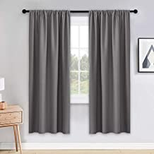 PONY DANCE Gray Blackout Curtains - Window Cover Double Panels Rod Pocket Drapes Light Blocking Drapes Thermal Insulated Privacy Protect for Living Room, 42 Wide by 72 Long, 2 Panels