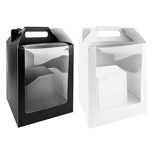 Geschenkboxen mit Folien-Sichtfenster | 31cm x 19cm x 19cm | 360g/m² | 2 Stück | 1x weiß, 1x schwarz