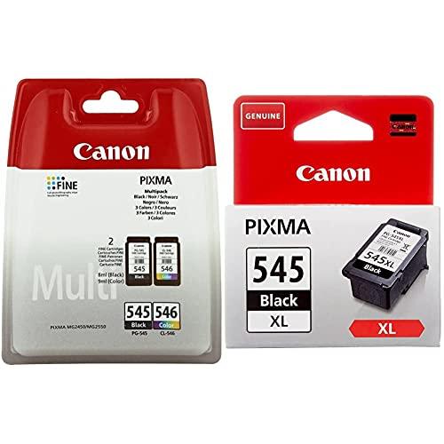 Canon PG-545XL + CL-546XL Valuepack tinta BK XL + Tricolor XL Impr. Inyeccion tinta + PG-545XL Cartucho de tinta original Negro XL para Impresora de Inyeccion de tinta Pixma