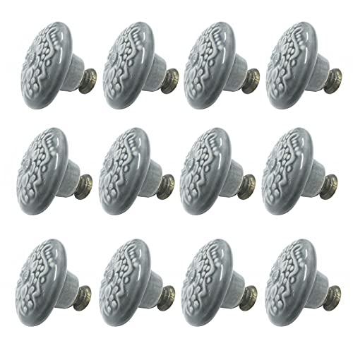 Pomos para cajones y cocina, 12 unidades, redondos, de cerámica, pomos para puertas, tiradores para armario, cajones (gris)