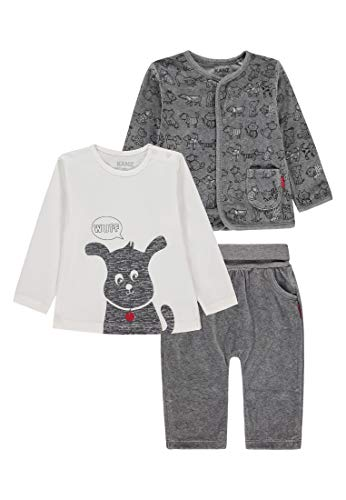Kanz Unisex Baby 3tlg. Set (Jacke + T-Shirt 1/1 Arm + Jogginghose) Bekleidungsset, Mehrfarbig (Allover|Multicolored 0003), (Herstellergröße: 62)