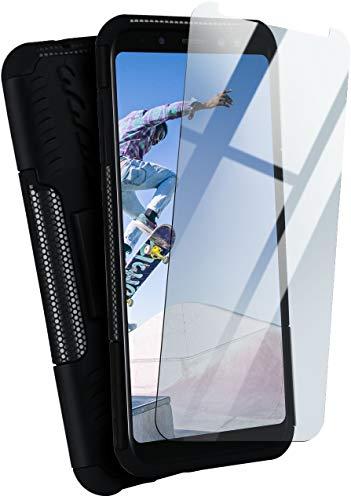 moex Panzerhülle kompatibel mit Samsung Galaxy A8 (2018) - Handyhülle mit Panzerglas, extrem stoßfest, Panzer Outdoor Hülle 360 Grad, Schwarz
