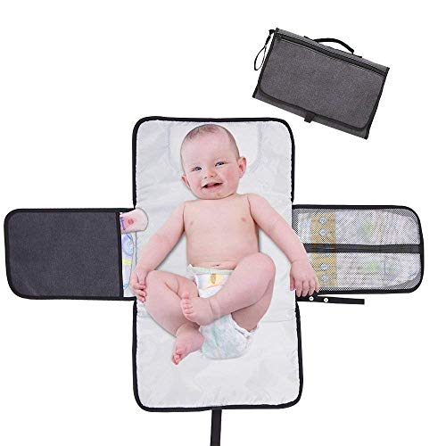 TOUARETAILS New Baby Diaper Changing Pad, Extra Large Waterproof Mat for Stroller Walks or Travel Diaper Bag, Fits Newborn and Toddler for Quick Change on The go (Multi Color)