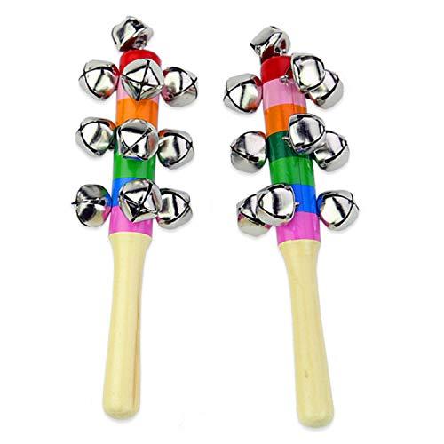 aajin Campana de mano de juguete para niños, colorida campana de madera de Navidad, instrumento musical, campanilla de trineo de Navidad, decoraciones de Navidad (2 piezas)