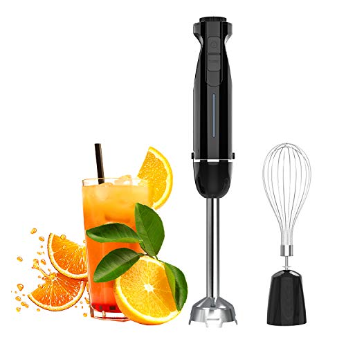 Nuovoware Ultra-Stick 6-Speed Smart Powerful 2 in 1 Immersion Hand Blender, Whisk Attachment Heavy Duty Copper Motor Stainless Steel, Cup Not Included - Black