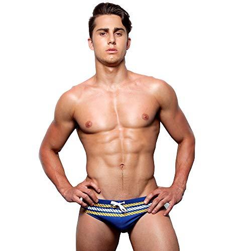 UXH Herren Badehose sexy Bademode Marke Badehose sexy niedrige Taille Boxershorts -  Blau -  (X-Large)