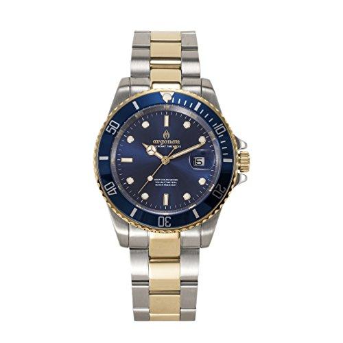 Argonau Unisex Erwachsene Analog Quarz Uhr mit Vergoldet Armband AU2007