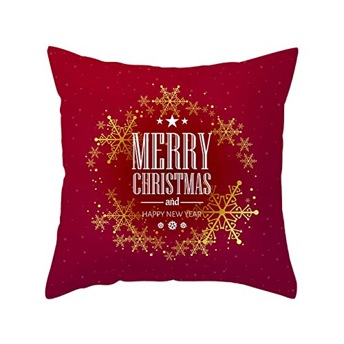 SUIBIAN Merry Christmas Cushion Cover Christmas Office Home Pillowcase Red Color Holiday Snowman Pattern Pillow Case
