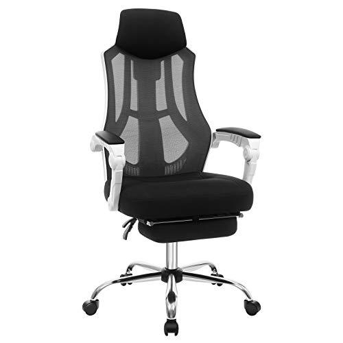 SONGMICS Bürostuhl, Schreibtischstuhl mit Netzbespannung, ergonomischer Computerstuhl mit Kopf- und Fußstütze, Rückenlehne um 135° kippbar, bis 120 kg belastbar, weiß-dunkelgrau OBN056W01