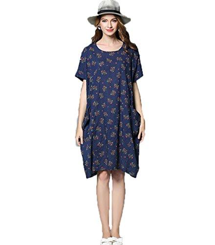 YALI Fat Mm Robe florale lâche Taille unique motif floral bleu