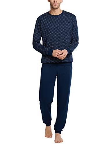 Schiesser Herren Schlafanzug lang Pyjamaset, Blau, 106