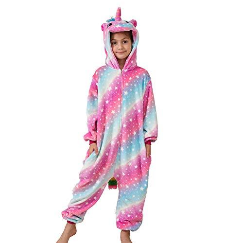 Ruiuzioong Kinder-Schlafanzug mit Einhorn-Motiv, Unisex, für Jungen und Mädchen Gr. 128, X-Galaxie Einhorn