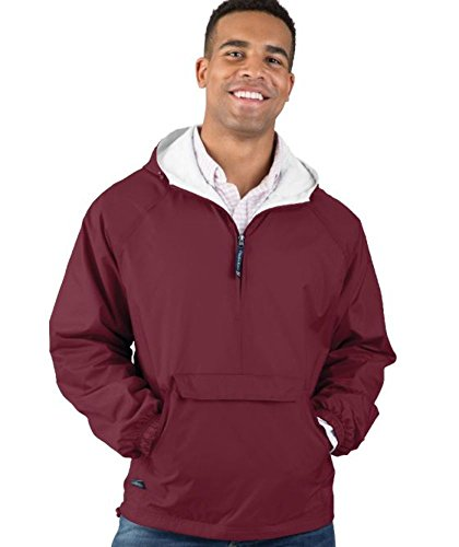 Charles River Apparel Unisex Adult & Water-Resistant Pullover Rain (Reg/Ext Sizes) Windbreaker Jacket, Cardinal, XX-Large US