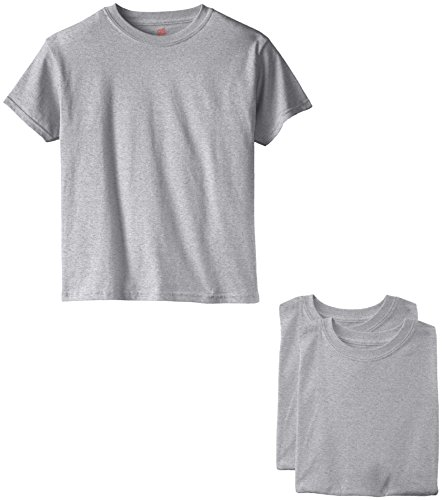 Hanes Big Boys' Short Sleeve Comfort Soft Tee Pack of 3, Light STee Pack of 3l, Small
