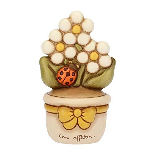 THUN - Vasetto Decorativo con Margherite e Coccinella - Soprammobile - Bomboniere e Accessori per la Casa - Formato Medio - Ceramica - 9,7 x 8,5 x 16,5 cm