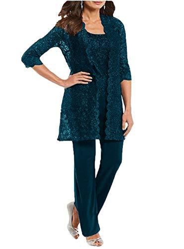 3 Stück Brautmutter-Hose, Anzüge, Partykleider, Outfit, Mutter-formelle Kleidung - Blau - 42