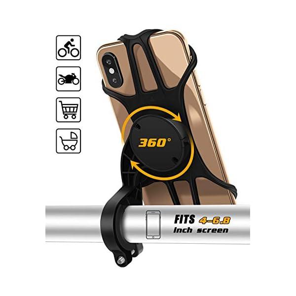 Bike Phone Mount, Upgrade Phone Holder for Bike, Adjustable Bike Cell Phone Holder, Detachable Silicone Phone Holder for Bicycle Stroller Cart Handlebar, fits iPhone, Samsung, Huawei, GPS