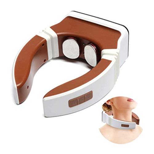 Unkonw Intelligent Neck Massager Electric Pulse Back and Neck Massager Far Infrared Heating Pain Relief Tool Multifunction Suitable for Adult Men and Women Best Gift for Parents Brown