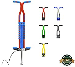 New Bounce Pogo Stick for Kids - Pogo Sticks for Ages 9 and Up, 80 to 160 Lbs - Pro Sport Edition, Quality, Easy Grip, PogoStick for Hours of Wholesome Fun (Blue & Red)