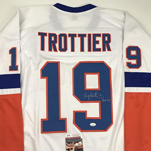 Autographed/Signed Bryan Trottier HOF 97 New York White Hockey Jersey JSA COA