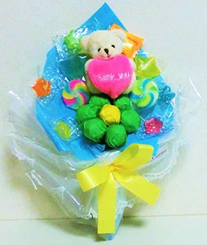 キャンディーブーケ 手持ちSサイズThankYouクマさん 発表会 花束 (ブルー)