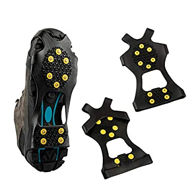 LERTREE Anti-Slip Stretch Snow Ice Grips 10-Stud Spikes Over Shoe Traction Cleats Crampons Rubber Slip-on Shoe Cleats (M)
