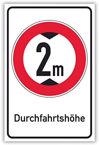 SCHILDER HIMMEL anpassbares Durchfahrtshöhe Schild 29x21cm Kunststoff mit Schrauben, 2 Meter Nr 695 eigener Text/Bild verschiedene Größen/Materialien