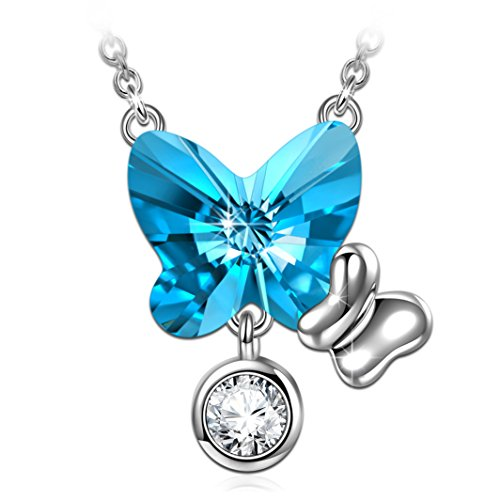 ANGEL NINA Mothers Day Necklaces Gifts Swarovski Crystals Necklace for Women Blue Butterfly Necklace for Women Necklace Gifts for Mom Women Sisters Girlfriend Birthday for Wife Her
