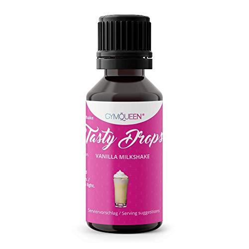 GymQueen Tasty Drops 30ml | Kalorienfreie, Zuckerfreie und Fettfreie Flavour Drops | Aroma Tropfen zum Süßen von Lebensmitteln | Geschmackstropfen ohne Künstliche Farbstoffe | Vanilla Milkshake