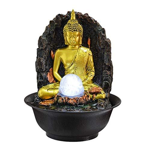GPWDSN Cascada de Escritorio Fuente de Agua de Mesa Fuente de Buda Interior - Fuente de Agua de Mesa Zen Escultura de Buda de Oro y Agua circulante Decoraciones de Interior para Dorm