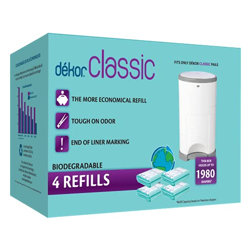 Dekor Classic Diaper Pail Biodegradable Refills | 4 Count | Most Economical Refill System | Quick and Simple to Replace | No Preset Bag Size – Use Only What You Need | Exclusive End-of-Liner Marking