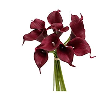 20 Stems of Real Touch Lifelike Artificial Reddish Burgundy Calla Lily Perfect Size for Making Bouquet Boutonniere Corsage
