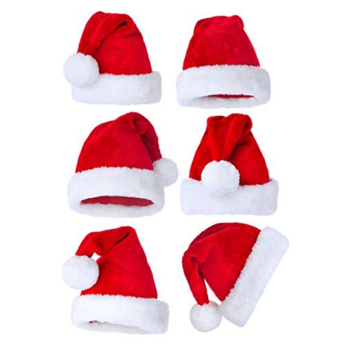 Holibanna 5 Unids Navidad Santa Claus Sombreros de Felpa Sombrero de Navidad Lujoso Clásico Gorro de Santa Claus Engrosado para Adultos Niños