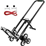 VEVOR Stair Climbing Cart Portable Climbing Cart 330 lb Capacity All Terrain Stair Climbing Hand Truck Folding Stair Hand Truck Heavy Duty with 6 Wheels (Black)