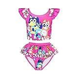 NEWFSG Toddler Girls Swimsuit Cartoon Dog Bathing Suit Princess Doll Print Swimwear Ruffle Two Piece Beach Tankini