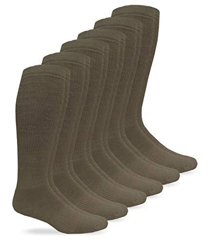 Jefferies Socks Mens Military Half Cushion Wool Combat over the Calf Boot Socks 6 Pair Pack (Sock:10-13/Shoe:9-13, Coyote Brown)
