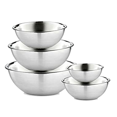 FamGo WSMXB-5PC Stainless-5PS Mixing Bowls, 5, Silver