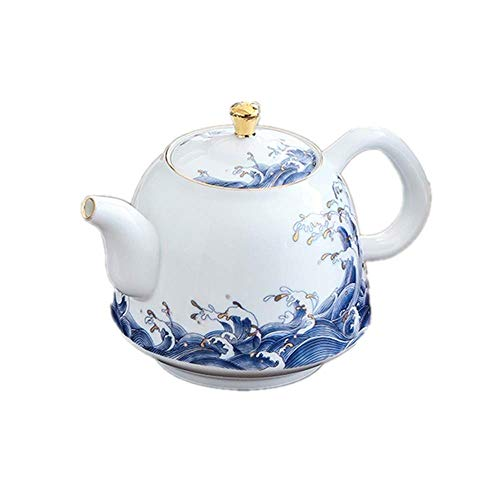 YUNLILI Ceramic Teapot, Enamel Teapot, Handmade White Porcelain with Gold Tracing Kettle for Bulk Tea and Tea Bags for Home and Tea Party Chinese style (Color : White, Size : 350ml)