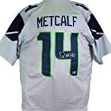 DK Metcalf Autographed Grey Pro Style Jersey-Beckett W Hologram Silver