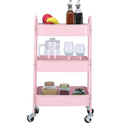 3-Tier Metal Mesh Utility Rolling Cart Storage Organizer with Wheels, Pink