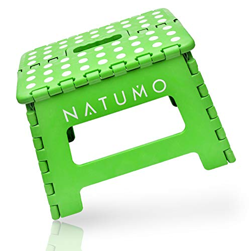 NATUMO Premium Folding Step Stool 150 kg – Foldable Kitchen Stool Folding Step Bathroom Stool Folding Garden Folding Chair Child Step Climbing Aid Sink for Children Adults (Green)