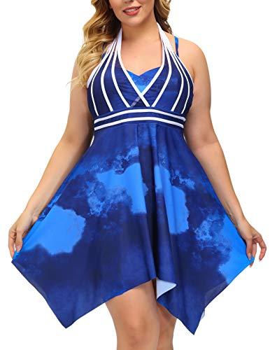 Hanna Nikole Women's Two Piece Swimwear Tie-dye Swimsuits Tankini Set Bathing Suit Blue 24W