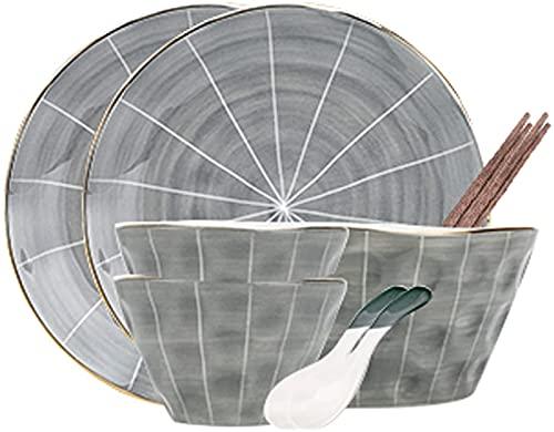Juego de platos, Combinación de vajillas Combinación de cobres retro de 9 piezas Combinación de cubiertos, utensilios de cocina que ahorran espacio que se pueden apilar, pueden cumplir con el uso diar