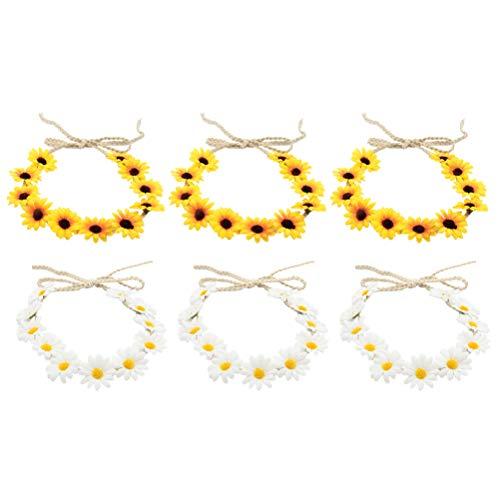 Lurrose 12PCS zonnebloemen haarband haaraccessoires zonnebloemen bloemenkrans meisje bloemenkrans bloemenkrans voor bruiloft fotografie zomer strand Hawaii party (wit + geel)