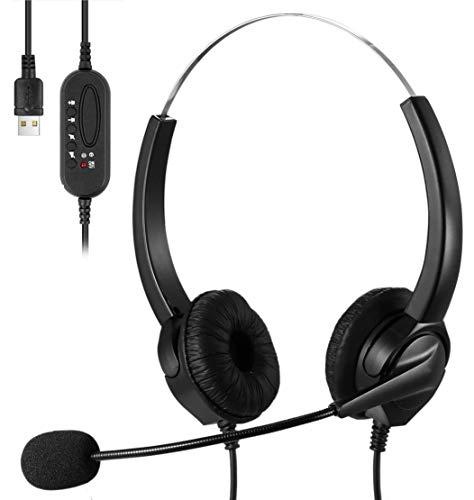 TBIUP Auriculares USB con micrófono, Auriculares de PC con micrófono Cancelación de Ruido y Controles de Audio Micrófono Auriculares de Ordenador, Chat cristalino, súper Ligero, Ultra cómodo (Black)